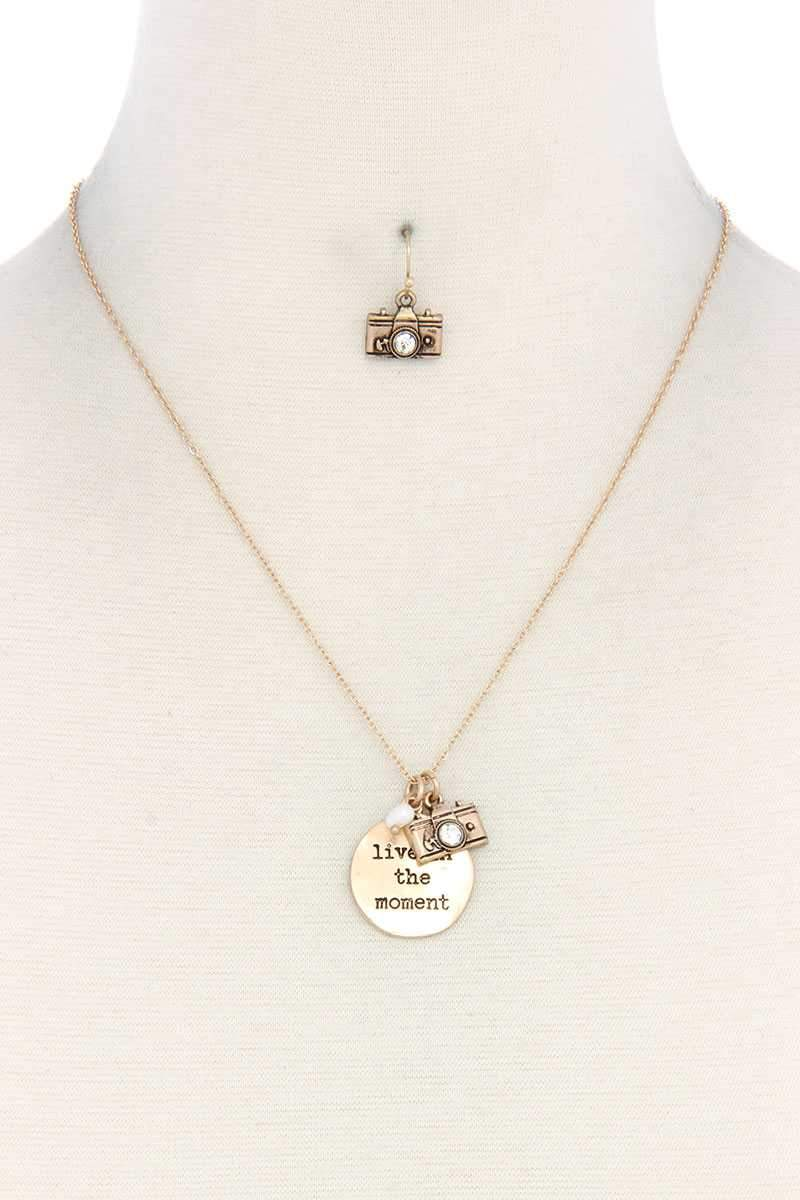 Gold Live In The Moment Pendant Necklace And Earring Set