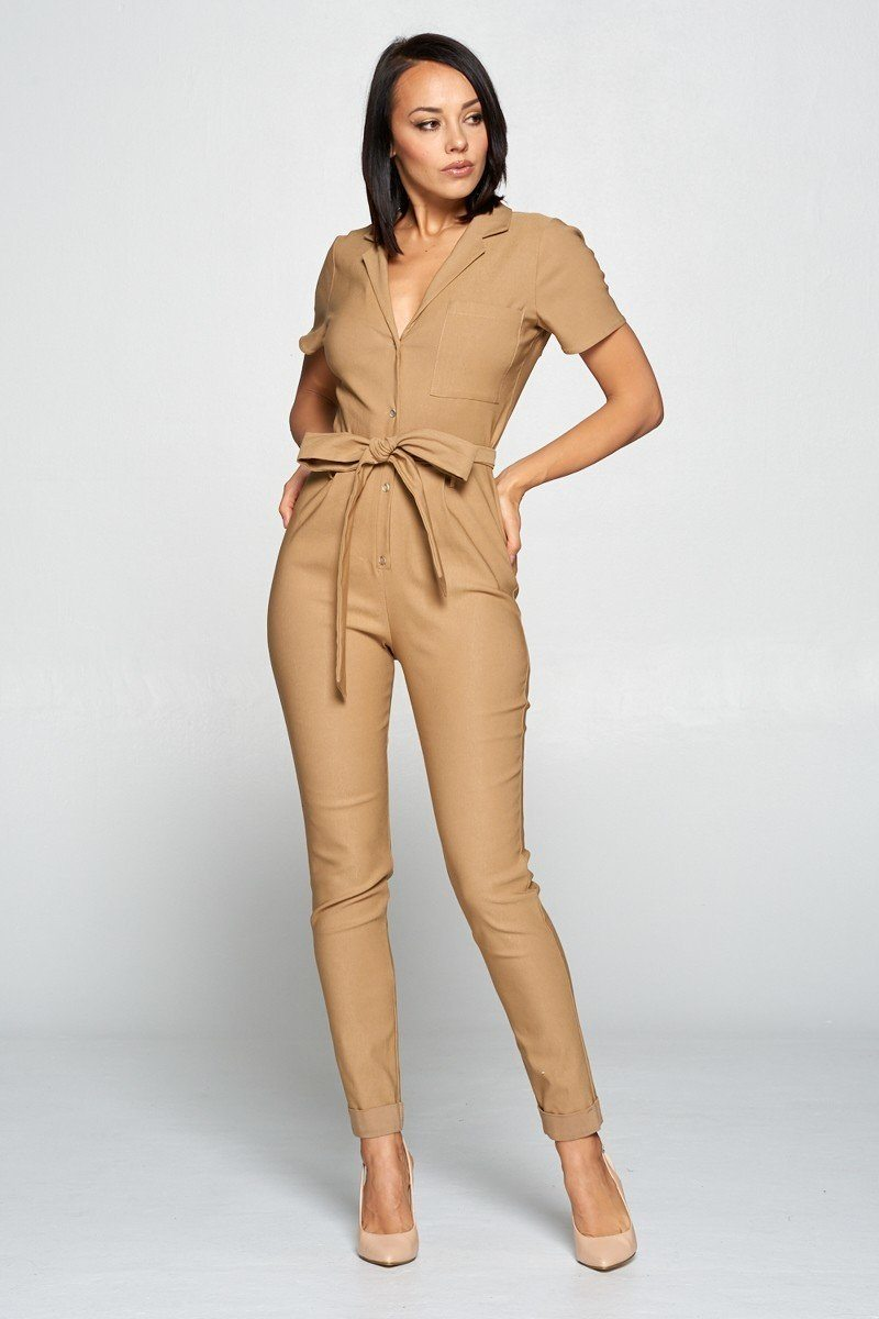 Tanned Khaki / M Cute Office Jumpsuit