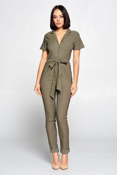Olive / M Cute Office Jumpsuit