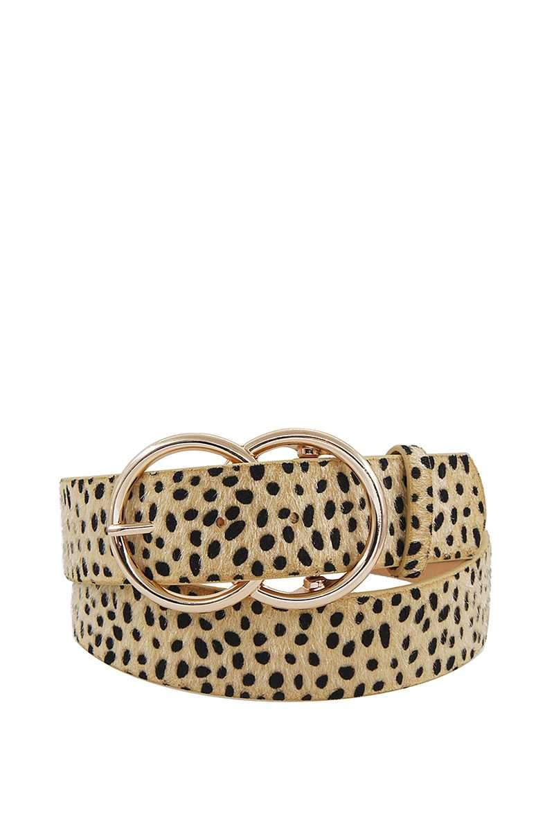 Beige Double Dip Leopard Belt