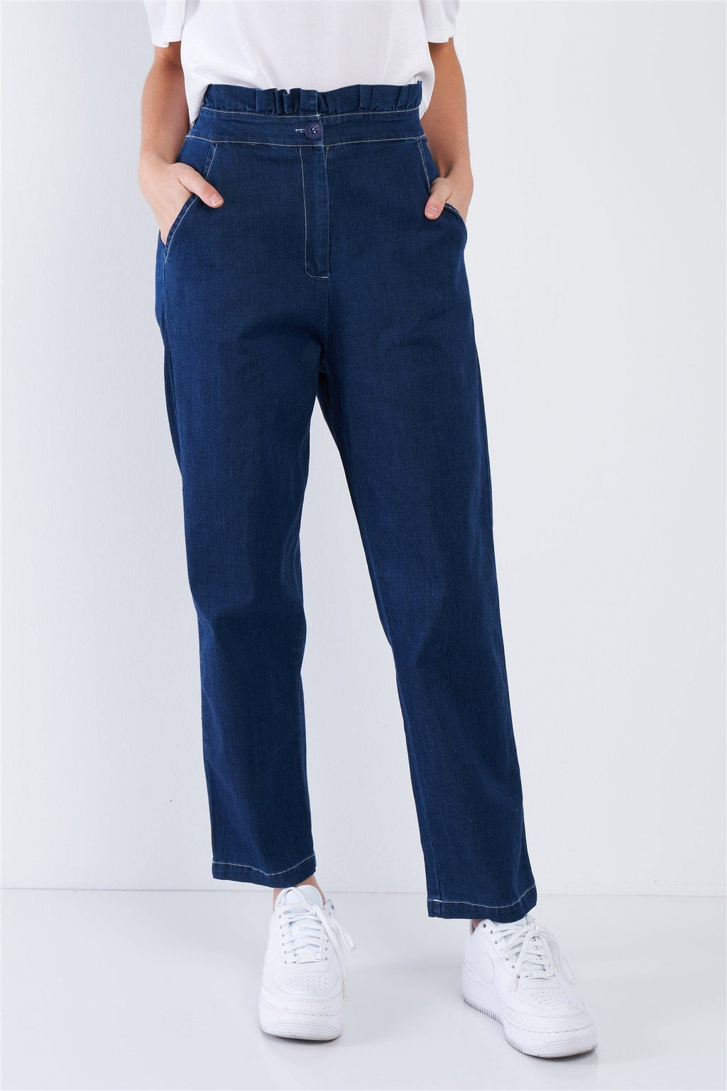 Blue Retro Frill Wrap Denim Pants