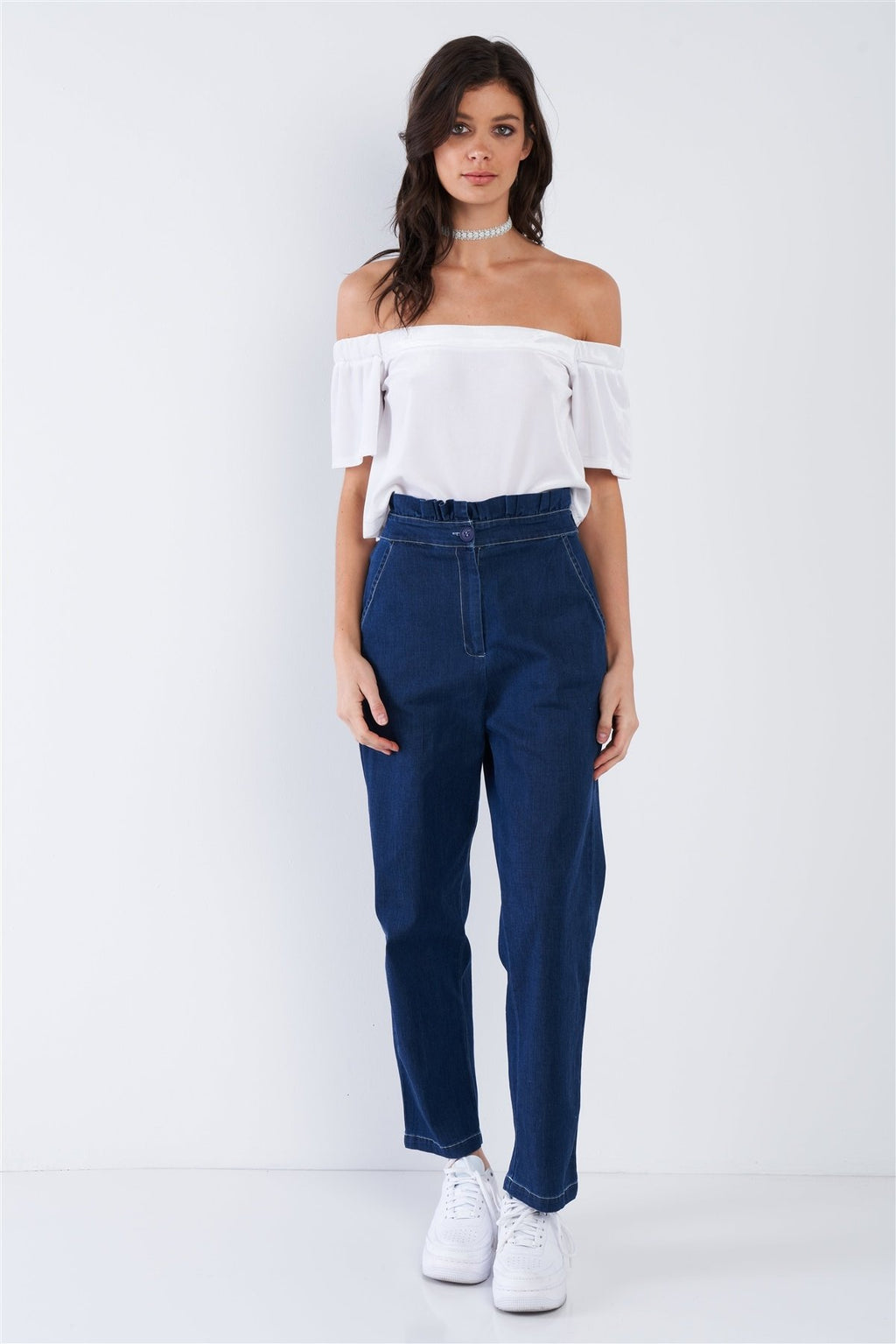 S Blue Retro Frill Wrap Denim Pants