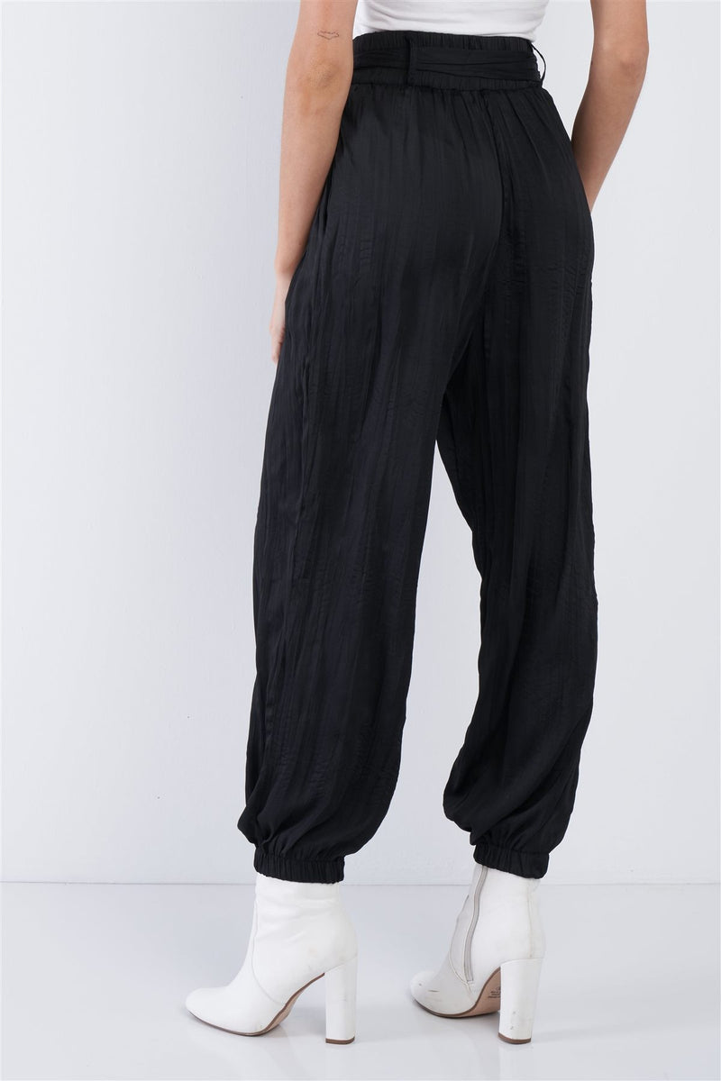 Crushed Satin Sash Pants
