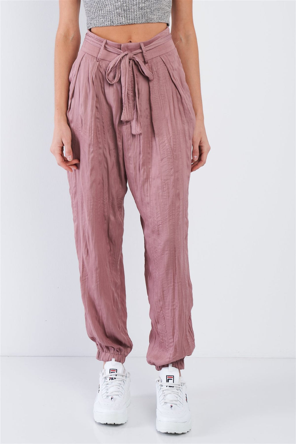 Satin Cinched Ankle Cuff Sash Pants