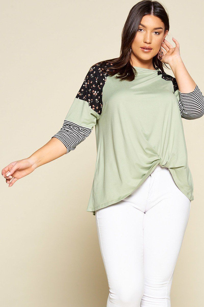 Floral And Striped Tunic Top