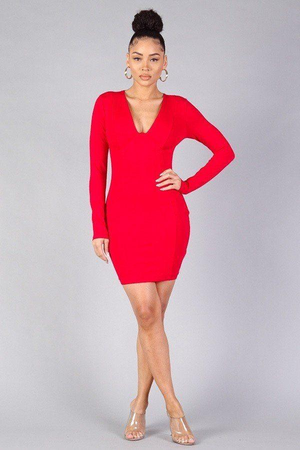 Red / S Sexy Long Sleeve Bodycon Mini Dress