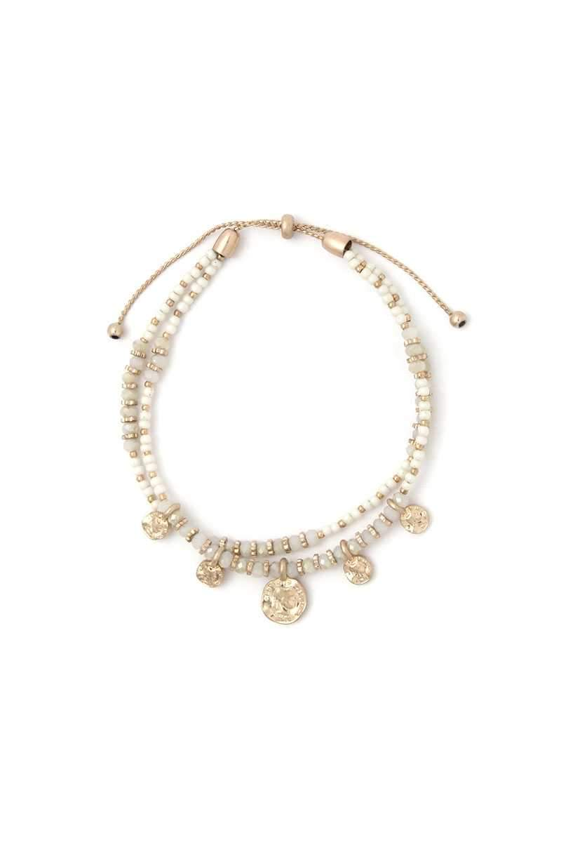 Ivory Coin Charm Beaded Adjustable Bracelet