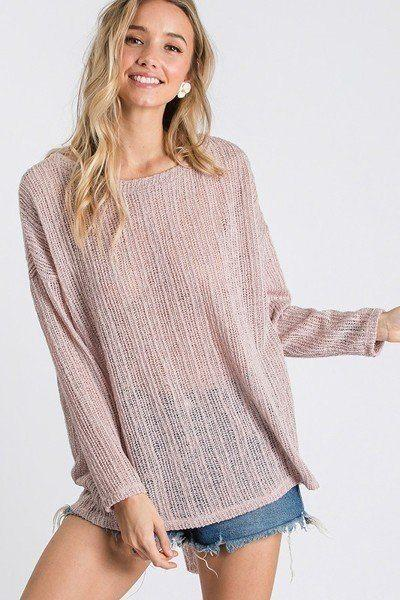 Dusty Pink / S Open Breeze Long Sleeve Top