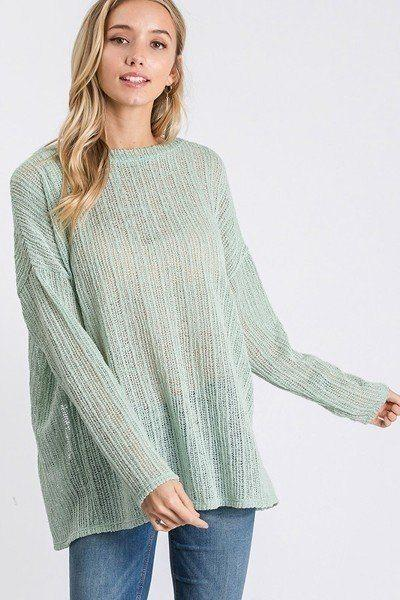 Sea Green / S Open Breeze Long Sleeve Top