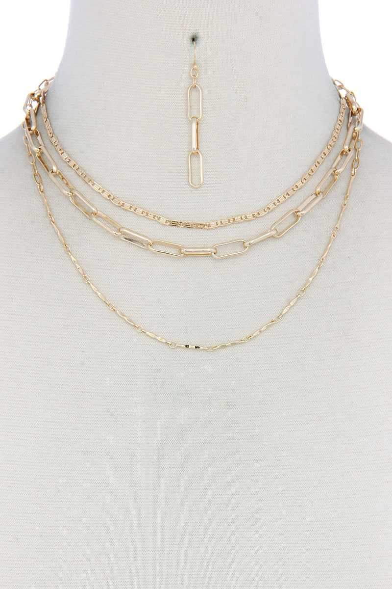 Gold Metal Layered Necklace