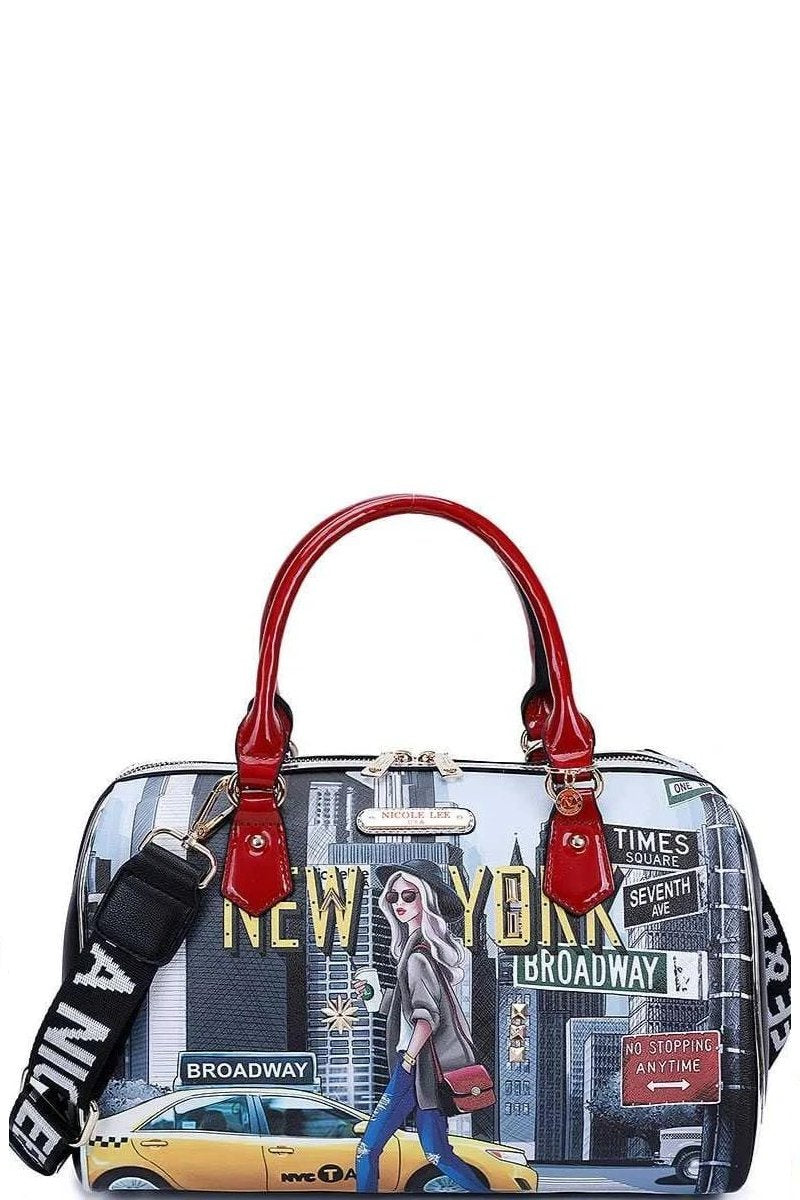 Multi Nicole Lee Walk Print Boston Bag