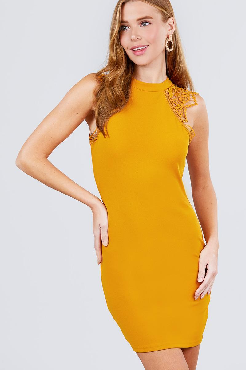 Mustard / S Lace Patch Cocktail Dress