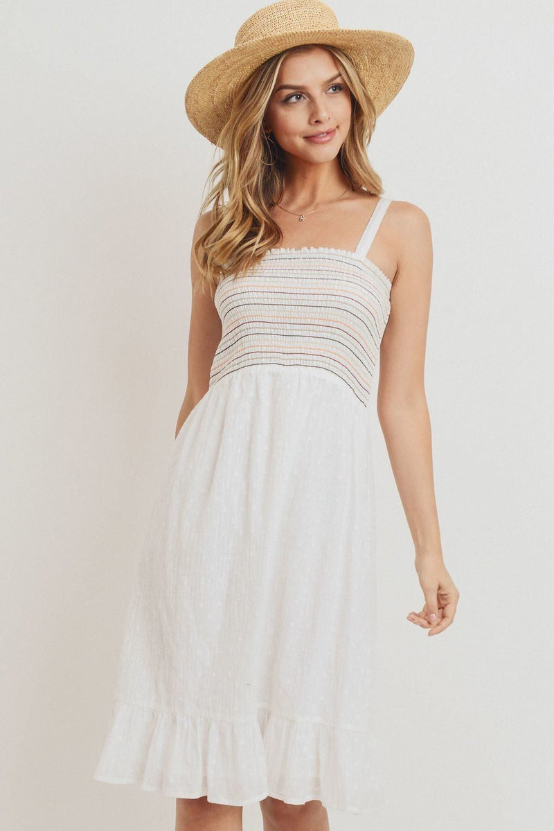 S Striped Ruffle Dress