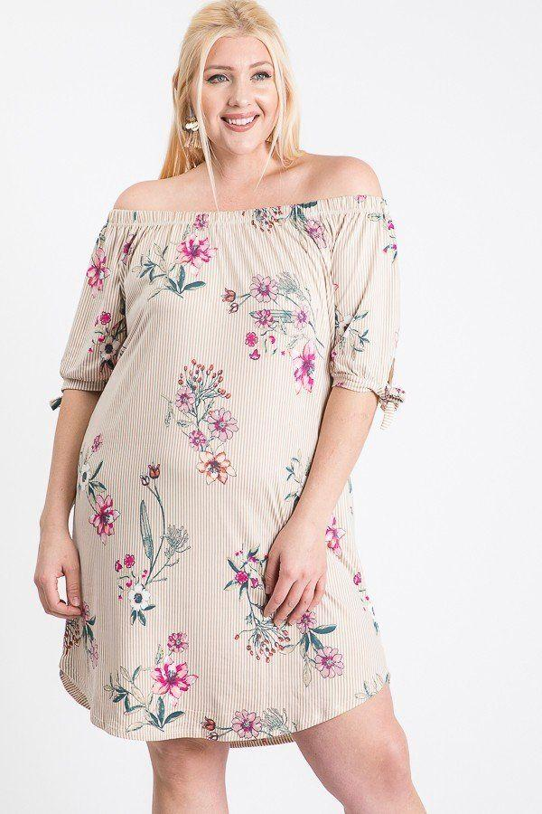 Ivory / 1XL Off Shoulder Round Hem Dress