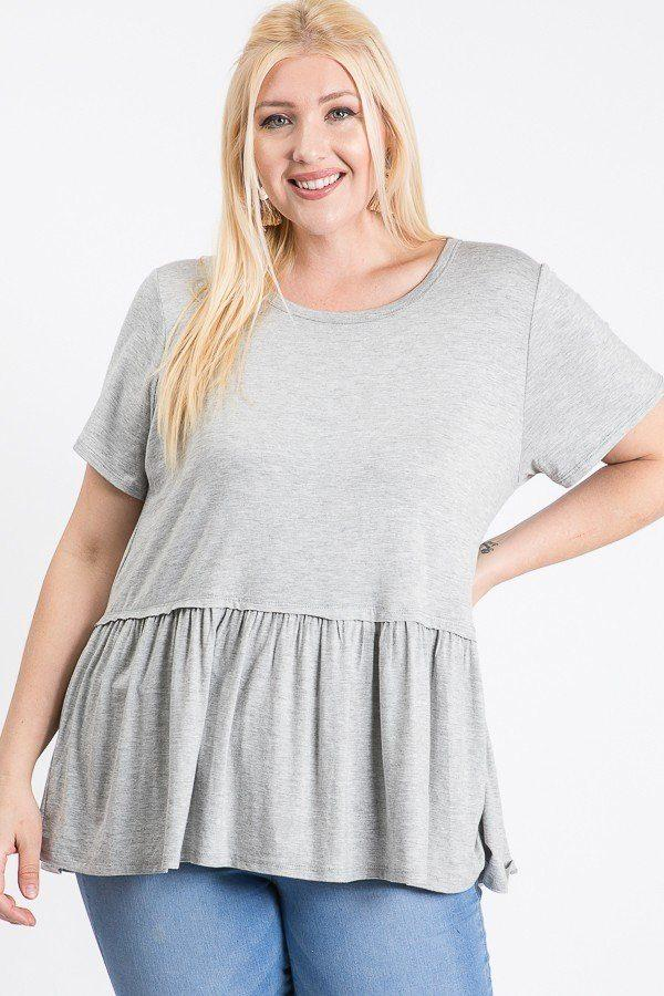 Grey / 1XL Babydoll Short Sleeve Top