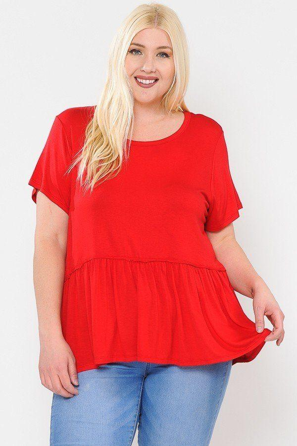 Red / 1XL Babydoll Short Sleeve Top