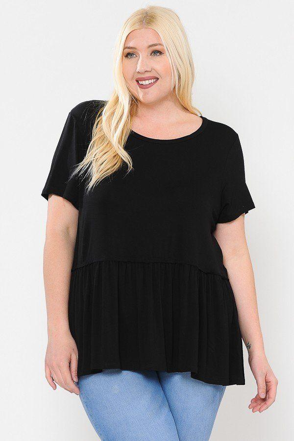 Black / 1XL Babydoll Short Sleeve Top