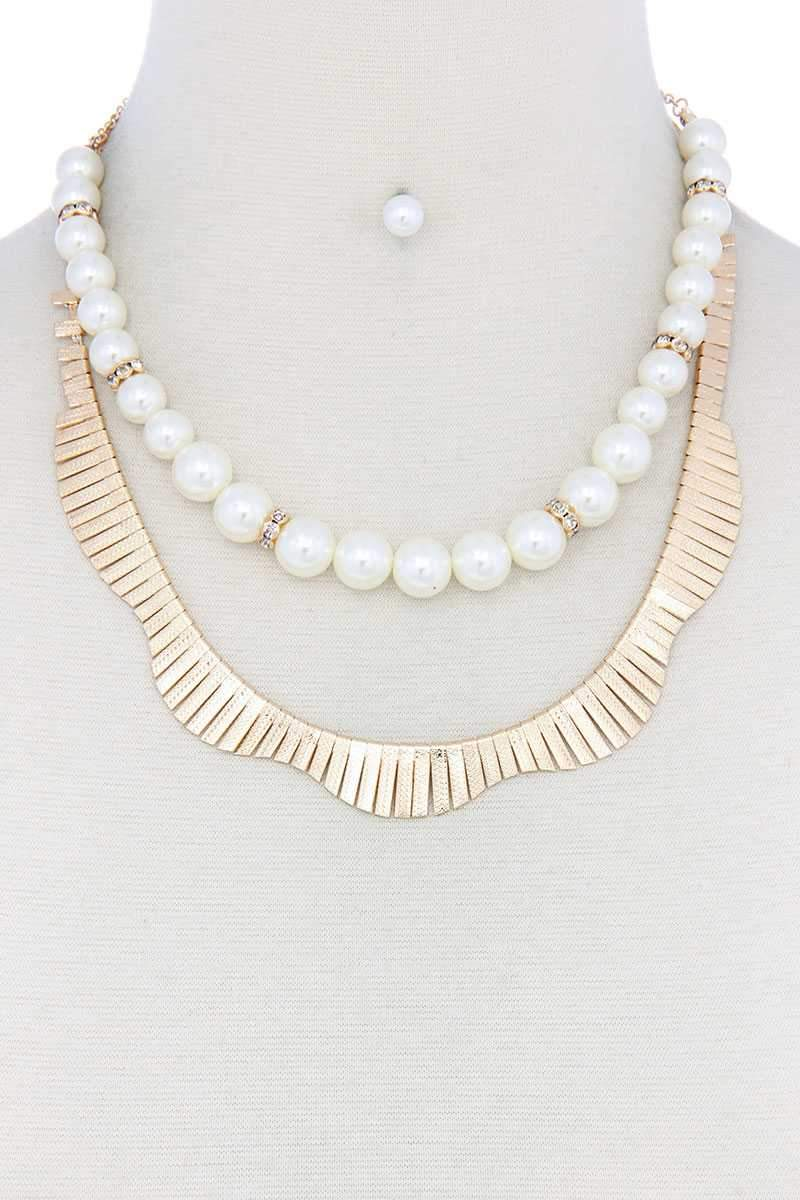 Gold Pearl Metal Layered Necklace