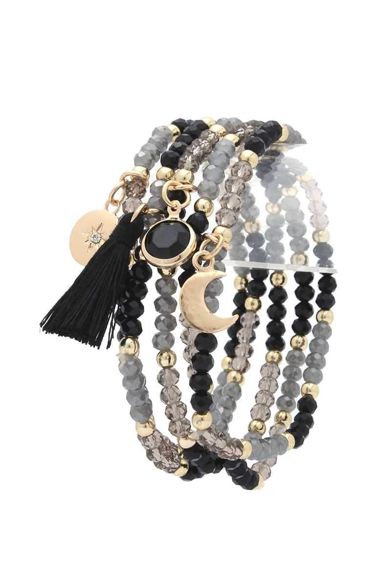 Black Moon Charm Tassel Stackable Bracelet