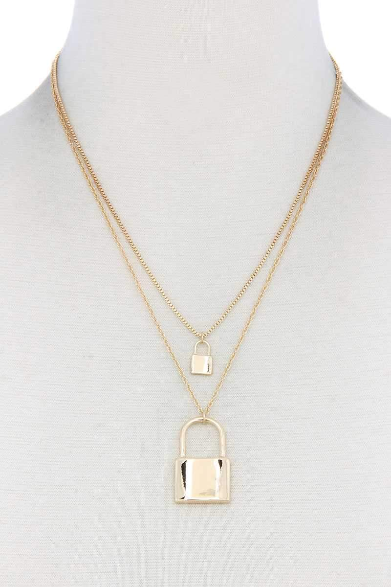 Gold Sodajo Lock Charm Layered Necklace