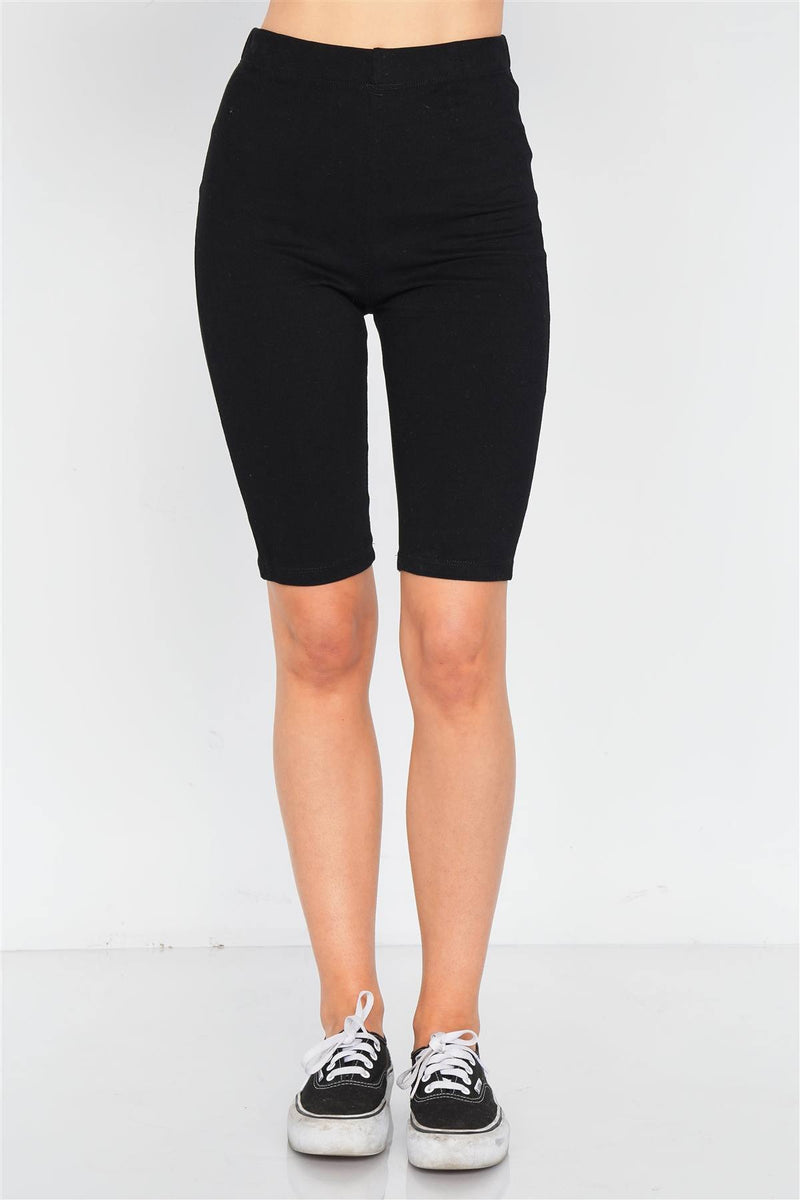 Black / S Stretchy Athletic Biker Shorts