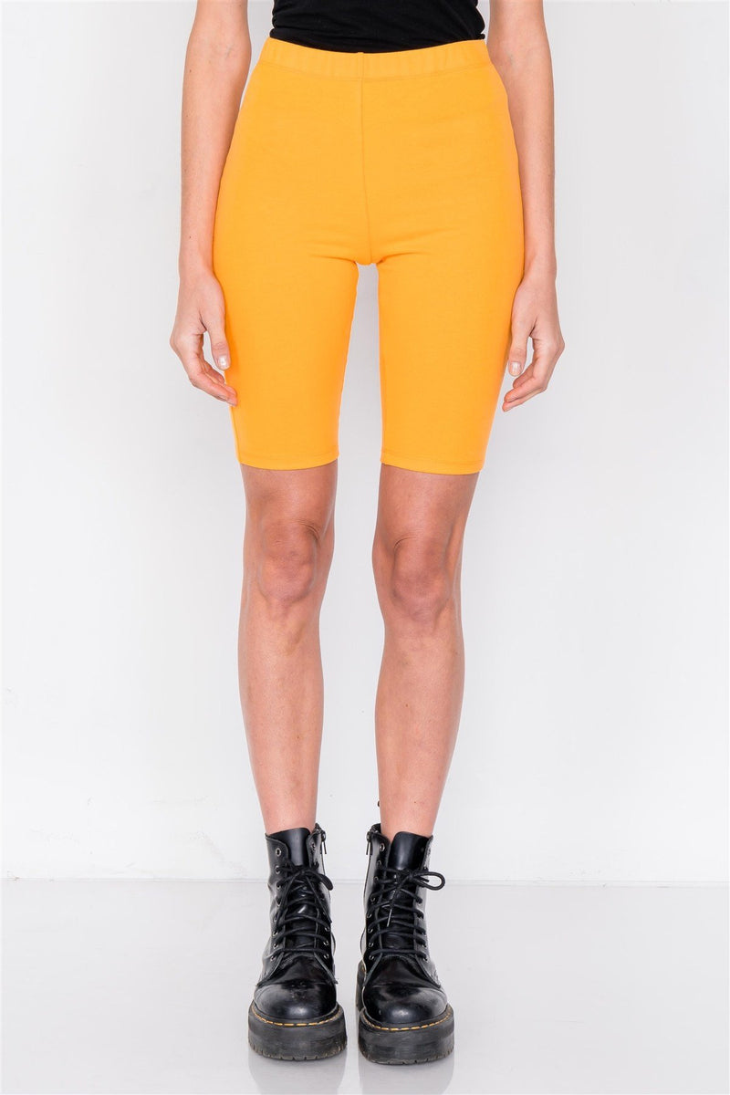 Orange / S Stretchy Athletic Biker Shorts
