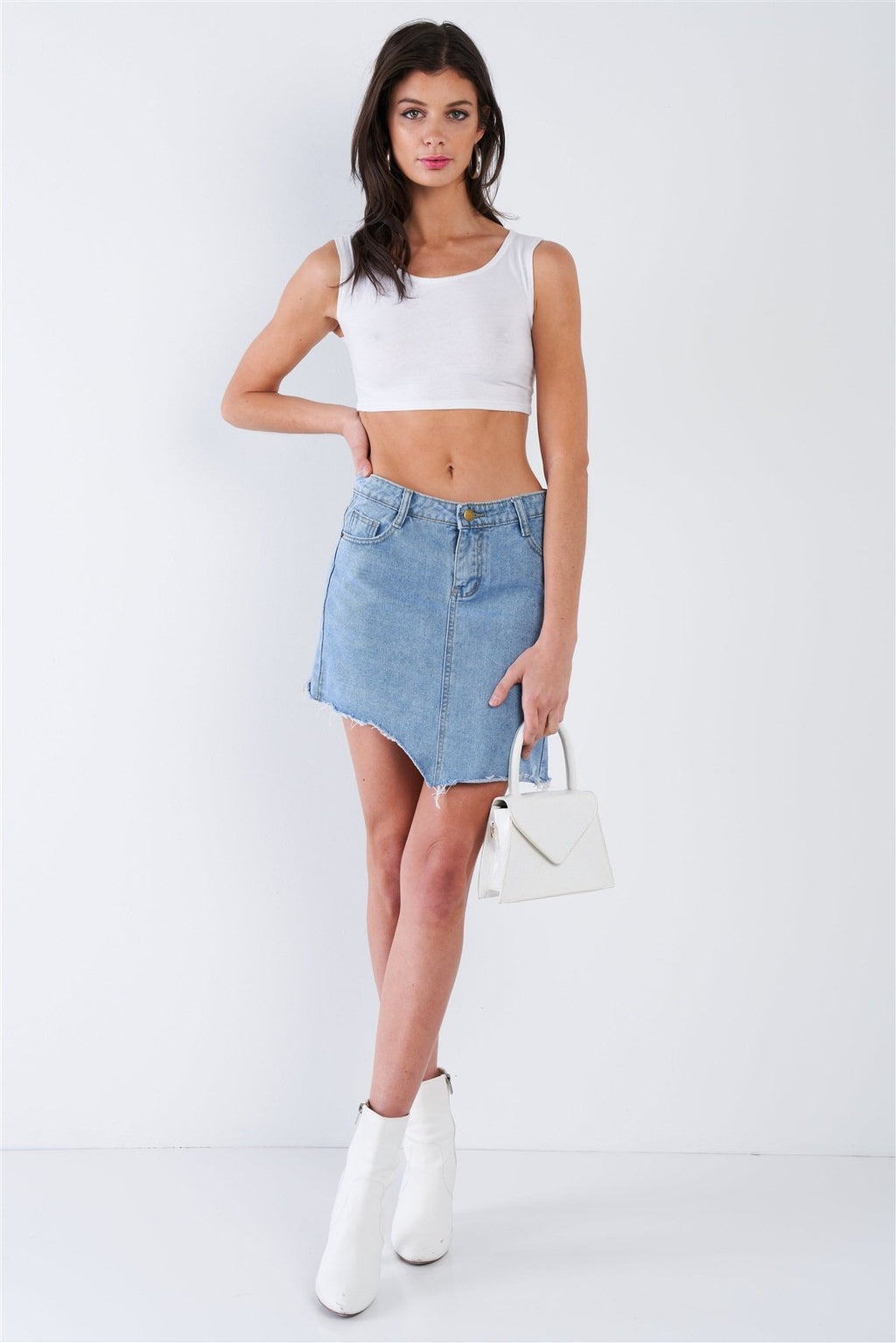Asymmetrical Raw Cut Mini Skirt