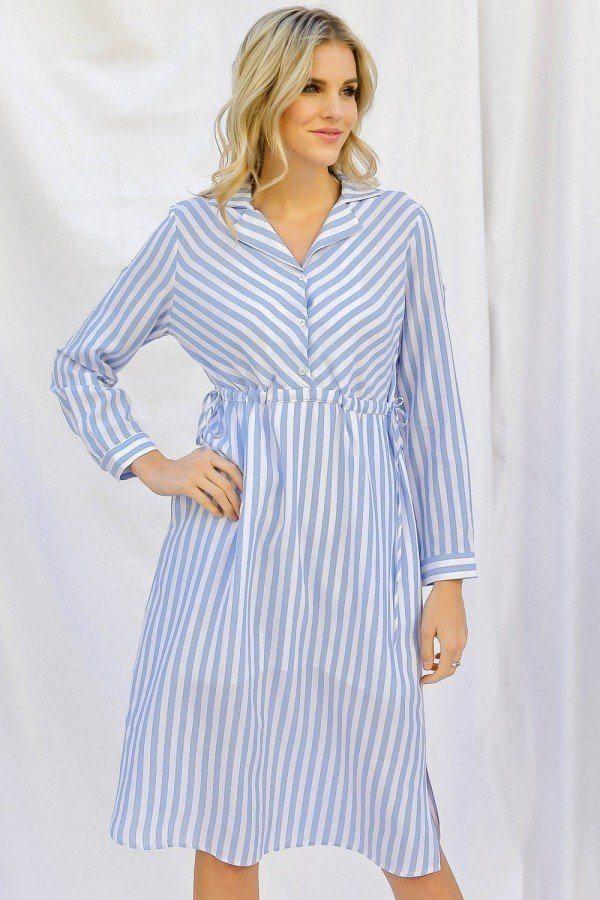 S Stripe Print Cinched Waist Long Sleeve Shirt Midi Dress