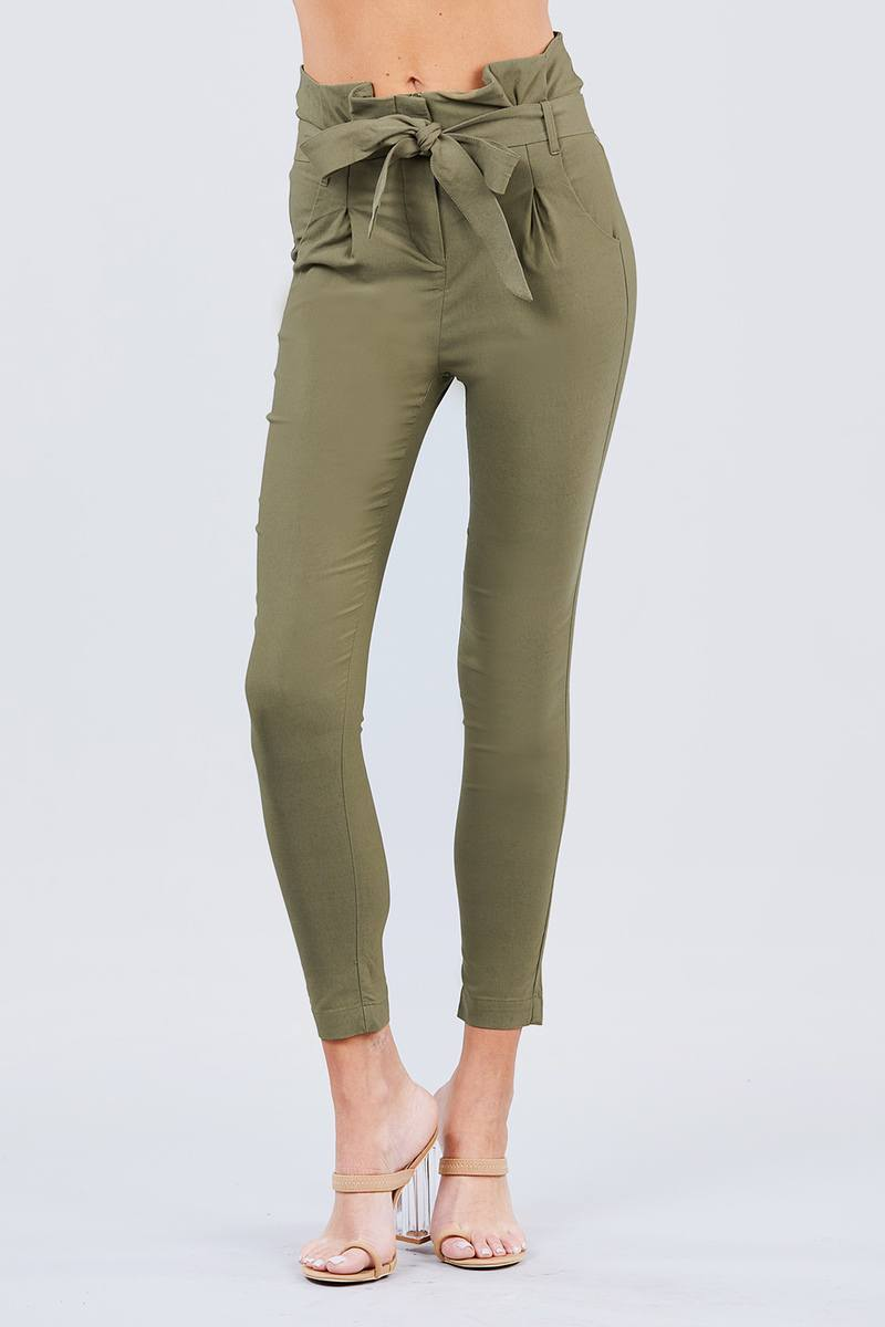Army Olive / S High Waisted Belted Pants