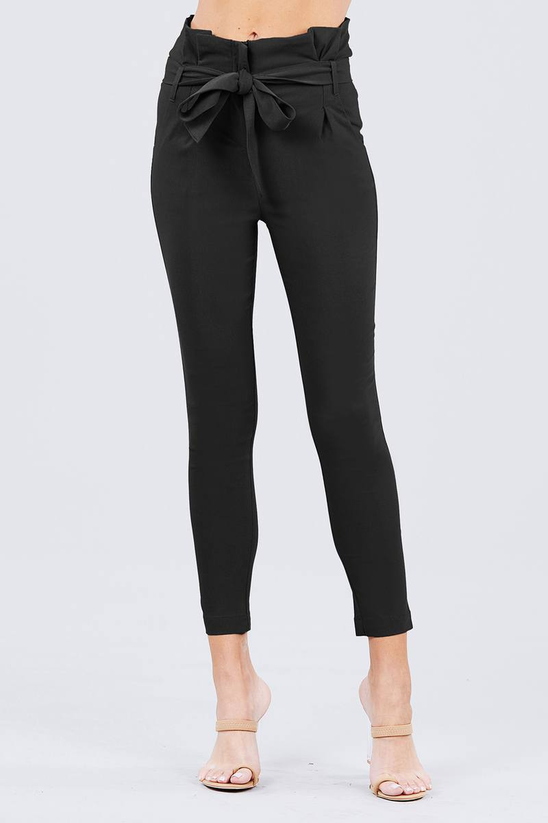 Black / S High Waisted Belted Pants