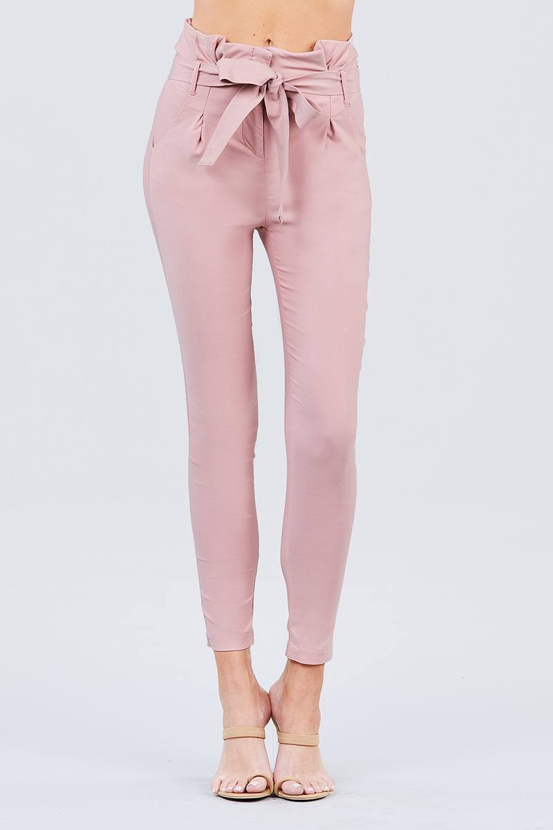 Blush / S High Waisted Belted Pants
