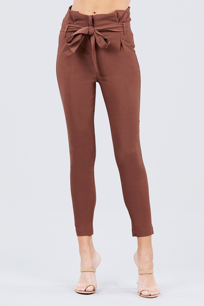 Chocolate / S High Waisted Belted Pants