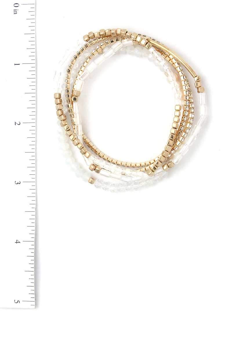 Gold Pearl Stackable Bracelet Set