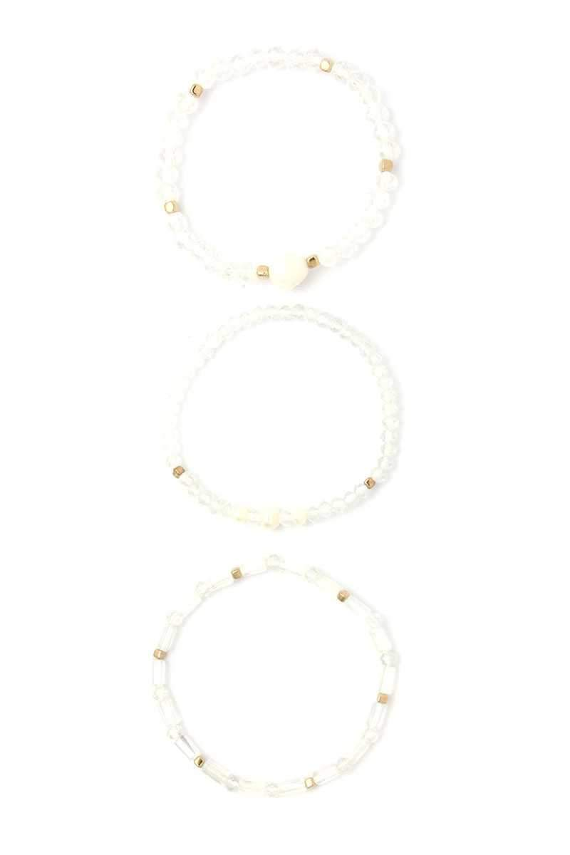 White Beaded Pearl Stackable Bracelet Set