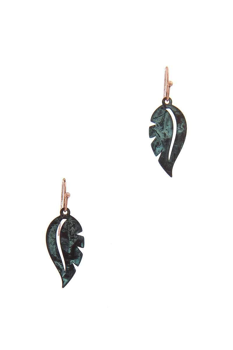 Patina Leaf Shape Drop Earring