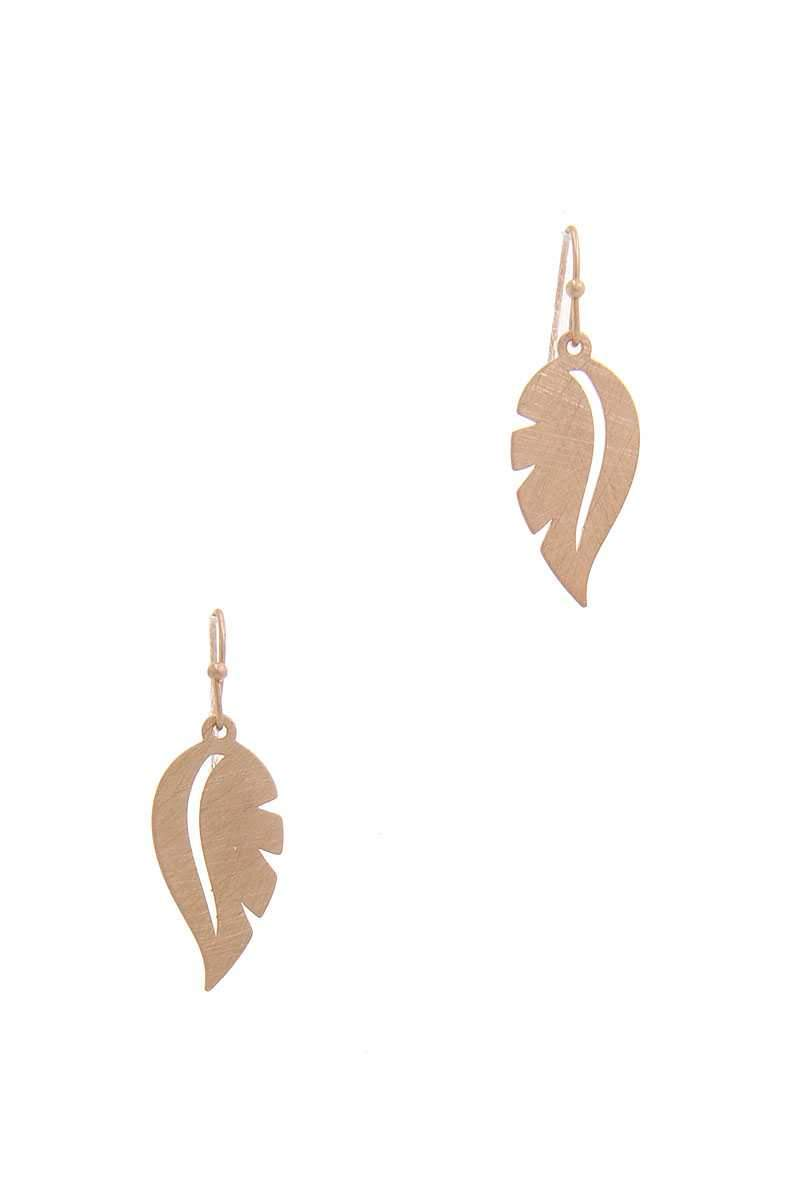 Gold Leaf Shape Drop Earring