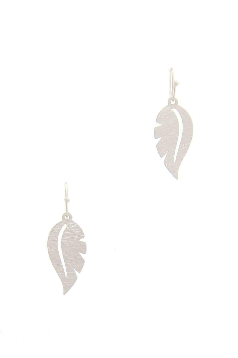 Silver Leaf Shape Drop Earring