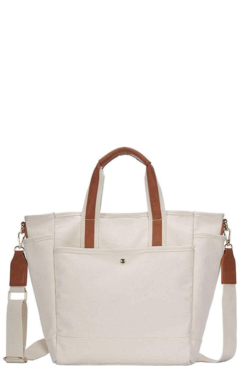 Tan 2in1 Canvas Fabric Satchel