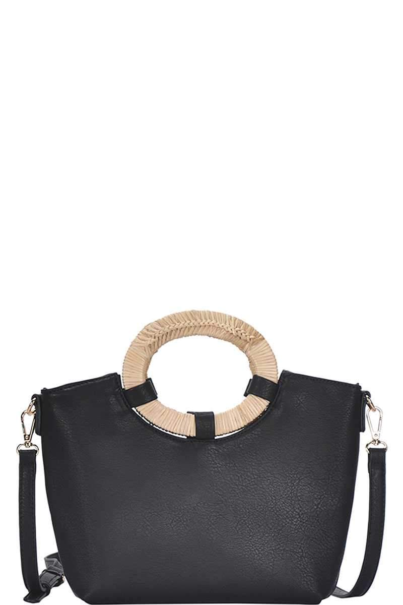 Black Chic Natural Woven Handle Satchel
