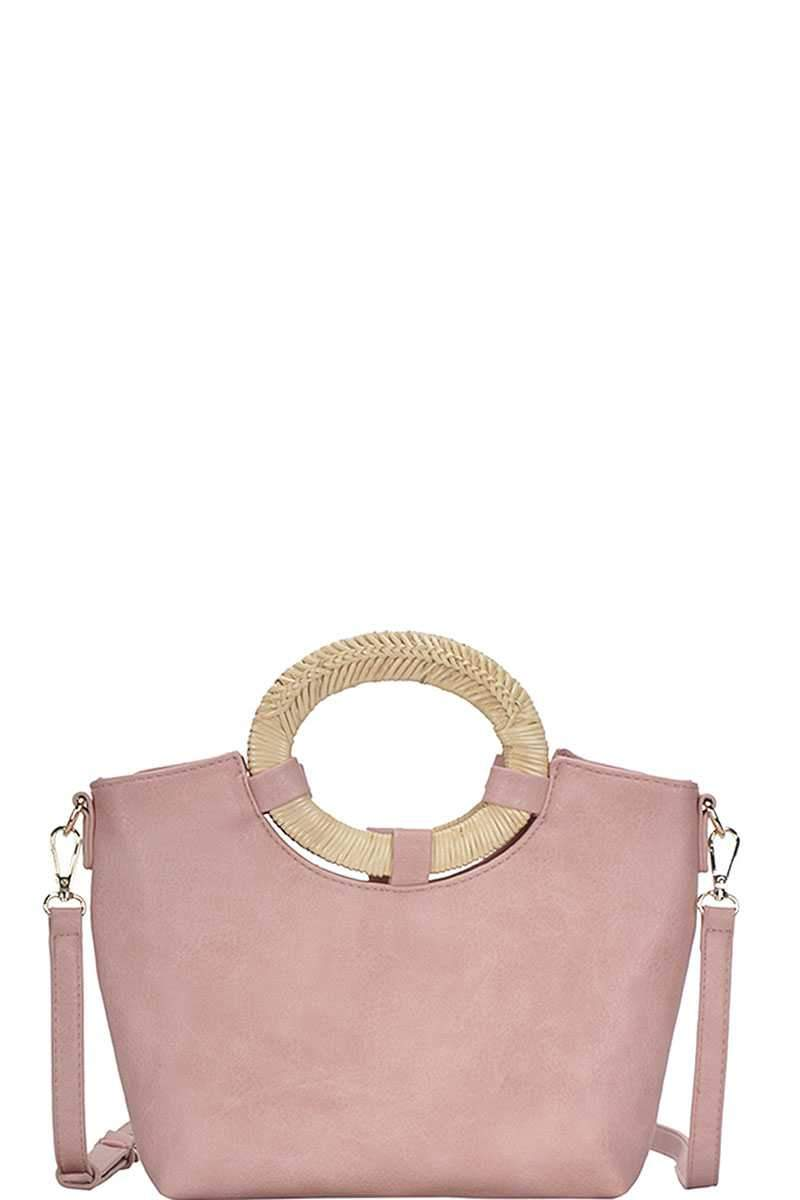 Blush Chic Natural Woven Handle Satchel