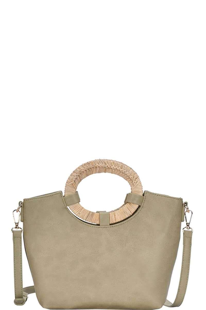 Moss Chic Natural Woven Handle Satchel