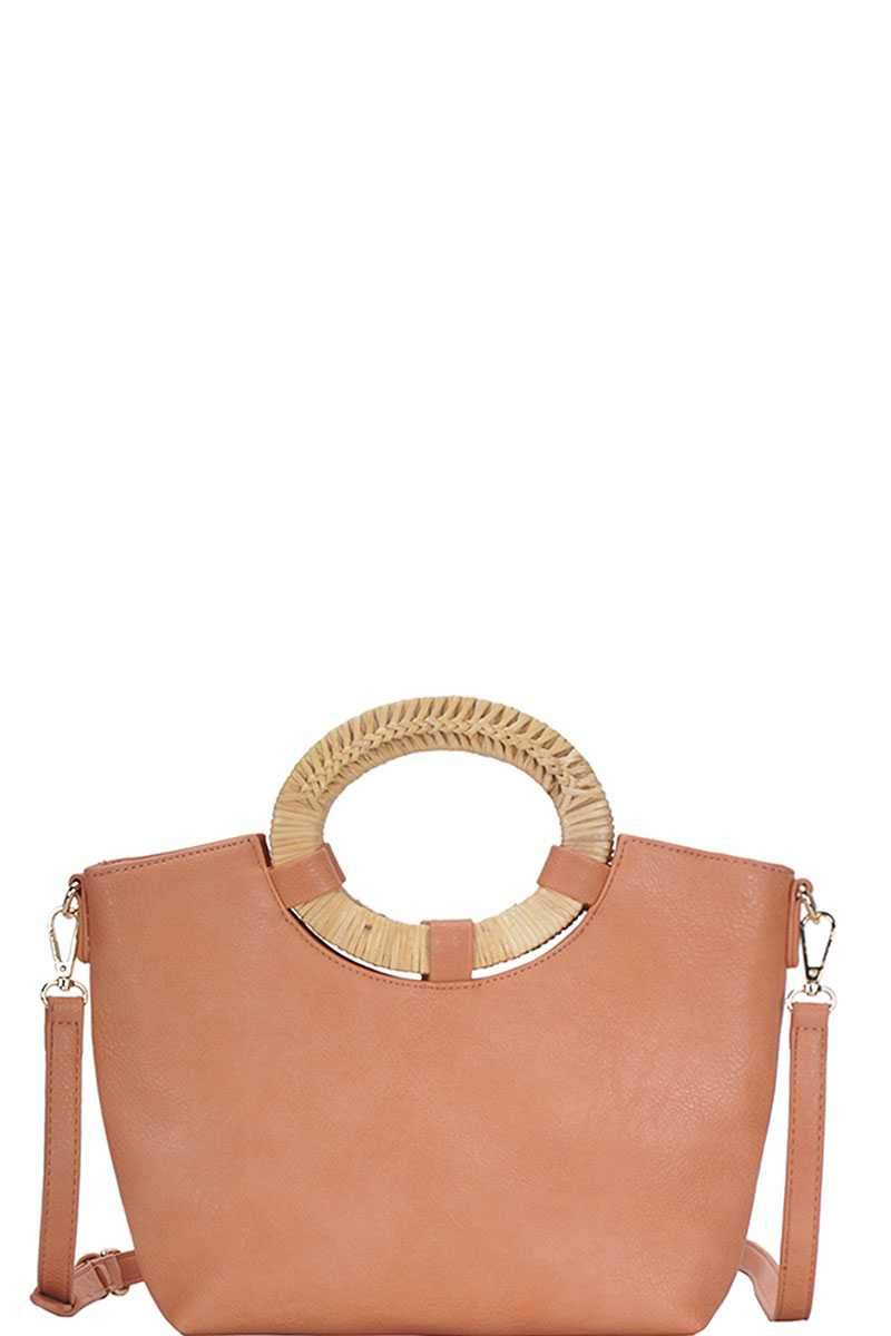 Brass Chic Natural Woven Handle Satchel
