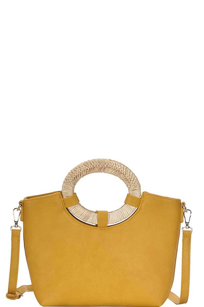 Yellow Chic Natural Woven Handle Satchel