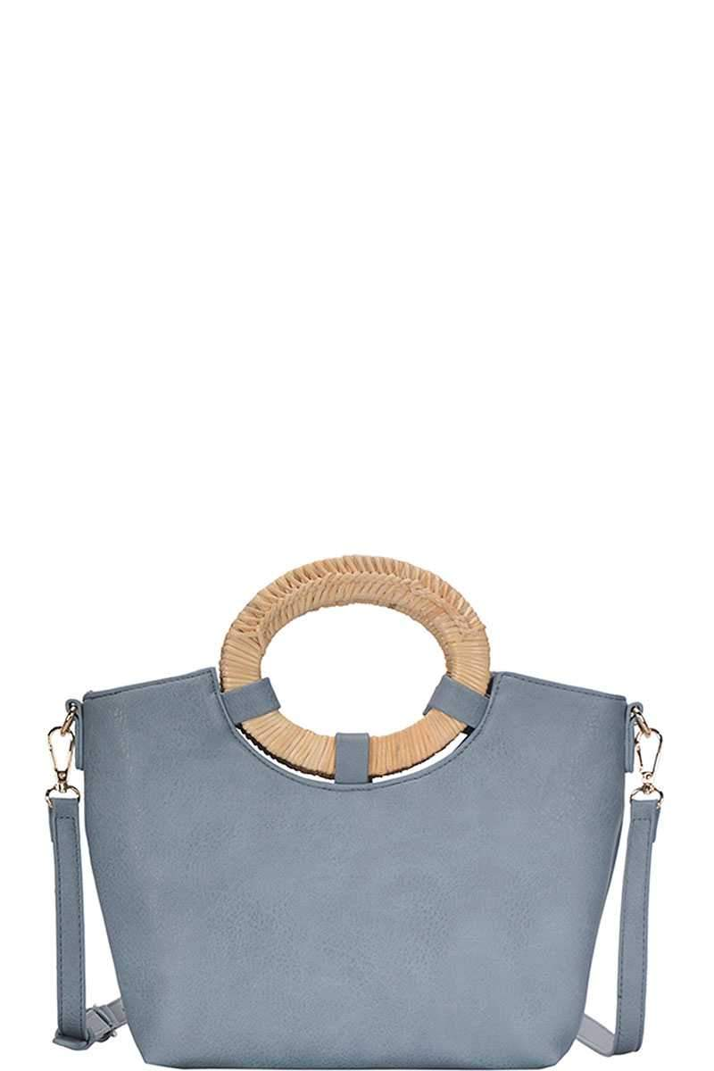 Blue Chic Natural Woven Handle Satchel