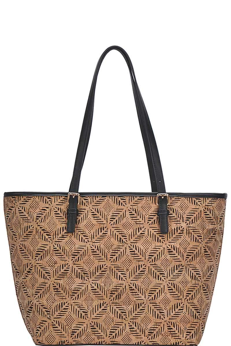 Black Cork Pattern Shopper's Bag
