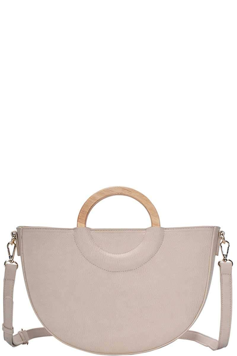 Beige Stylish Semi Circle Modern Satchel