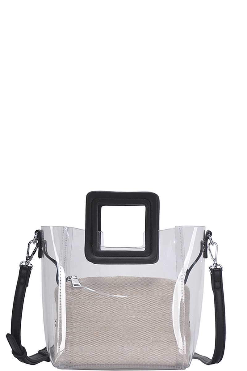 Black 2in1 Transparent Satchel