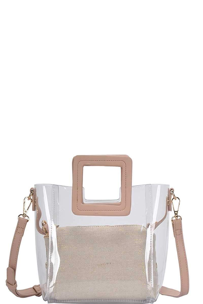 Cameo Brown 2in1 Transparent Satchel