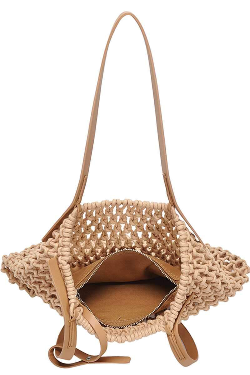 Camel 2in1 Modern Chic String Woven Tote Bag