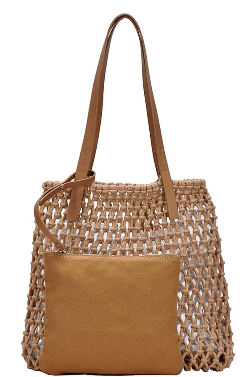 Cream 2in1 Modern Chic String Woven Tote Bag